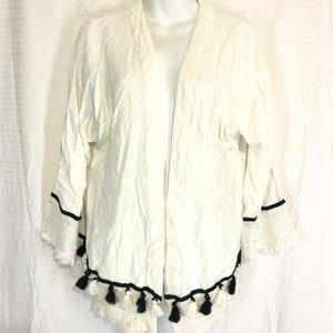 ROXY Open Cardigan Jacket Ivory Tassels ~sz M / L